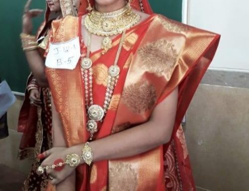 Yashasvi Bagade from XII C won 2nd Prize in Bridal Make-up Competition –VPM's Kannada