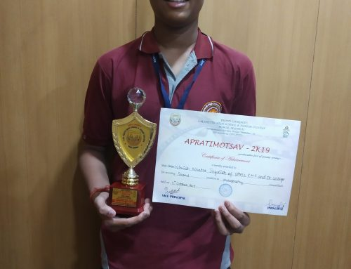 Nimish Mhatre from XII A won second prize in Photography competition–VPM's Kannada High School & Junior College, Mulund