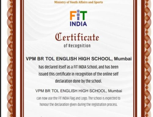 Fit India Certificate of Recognition 2019-20–VPMs B R Tol English High School, Mulund