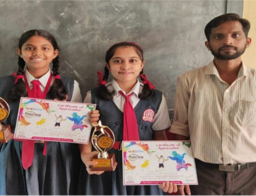 Miss AadyaShetty and Miss Shreya R. Class IX- B won consolation prize in The Hindu Young World Painting Competition 2019-20–VPM'S B R Tol English High School, Mulund